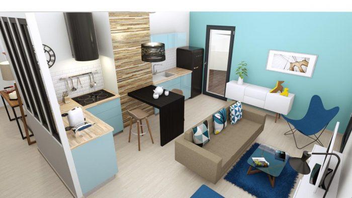 Aménagement appartement témoin d'un programme immobilier Nathalie Loison aDK'oat à Lille
